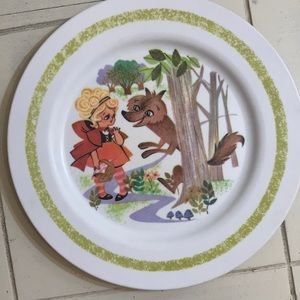 Vintage Little Red Riding Hood Wolf Child's Plate